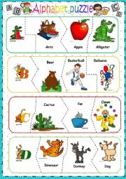 English Worksheet: Alphabet puzzle - PART 1 -editable