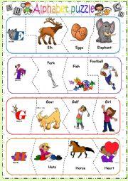 English Worksheet: Alphabet puzzle - PART 2 -editable