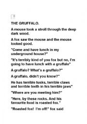 English Worksheet: The Gruffalo -Readers Theatre