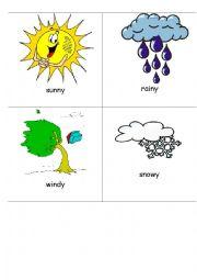 English Worksheet: The weather - flashcards