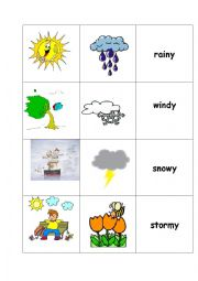 English Worksheet: The weather - memory game