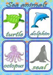 English Worksheet: SEA ANIMALS FLASHCARDS - SET OF 12