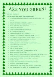 English worksheet: ARE YOU GREEN? ECOLOGICAL STEPS -SPEAKING