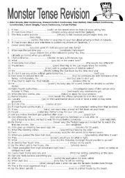 English Worksheet: Monster Tense Revision
