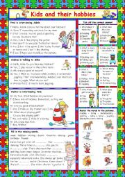 English Worksheet: Kids and their hobbies (+Key)