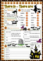 English Worksheet: Halloween - There is / There are