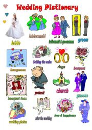 English Worksheet: WEDDING PICTIONARY