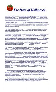 English Worksheet: the story of Halloween