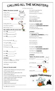 English Worksheet: Song: Calling All The Monsters by China McClain