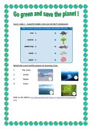 English Worksheet: Go green and save the planet