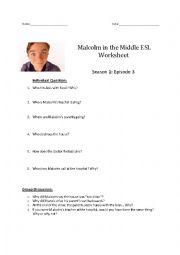 English Worksheet: Malcolm in the Middle ESL Worksheet - Season 1: Episode 3