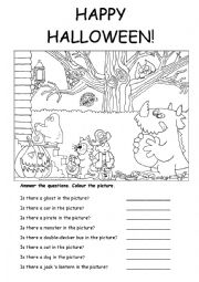 English Worksheet: halloween is there....?