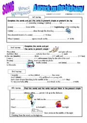 English Worksheet: Bruce Springsteen a wreck on the highway (song)