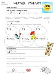 English Worksheet: weather forecast video