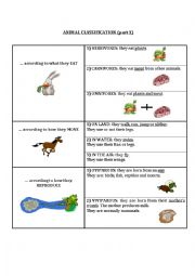 English Worksheet: Animal classification (part 1)