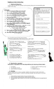 English Worksheet: Englishman in New York by Sting