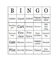 English Worksheet: Airport Vocabulary Bingo