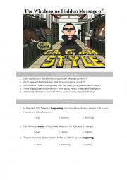 English Worksheet: The Wholesome Hidden Message of �Gangnam Style�