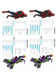 English Worksheet: Describe and compare Spiderman and Green Goblin