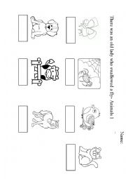 English Worksheet: There was an old lady who swallowed a fly