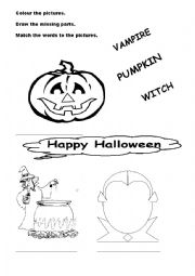 Halloween colouring and matching activity