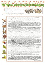 English Worksheets: The History of the Thanksgiving Day