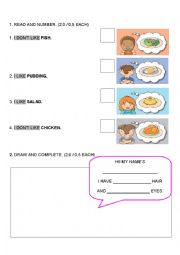 English Worksheet: PARTS OF THE BODY AND FOOD