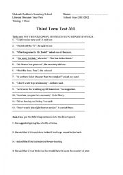 English worksheet: An assessement  test for second year  student