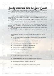 English Worksheet: Sandy Hurricane hits the East Coast