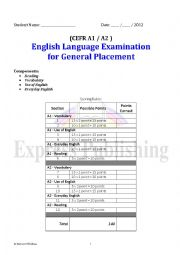 English Worksheet: A1 A2 General Placement test