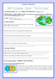 English Worksheet: VIDEO SESSION-MIND YOUR ENGLISH- THE FIRST LESSON