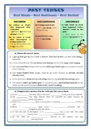 English Worksheet: Past tenses (Past Simple, Past Continuous, Past Perfect)