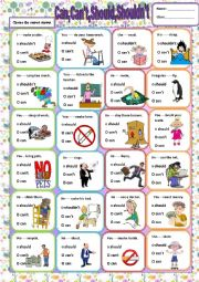 English Worksheet: Can,Can´t,Should,Shouldn´t