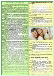 English Worksheet: Family Rituals - The Importance of Story Time