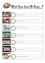 English Worksheet: What time does Mr Bean.....? Easy times for  young learners