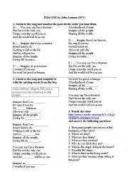 English Worksheet: Imagine