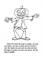 Color my body!  Halloween coloring activity for young learners