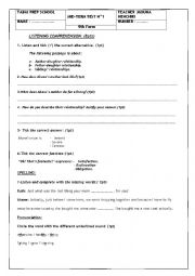 English Worksheet: 9thF listening comprehension test