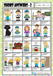 English Worksheet: SHORT ANSWERS 2