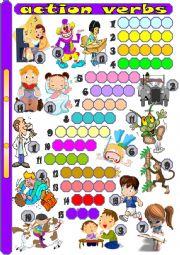 English Worksheet: action verbs (1)