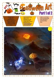 English Worksheet: HALLOWEEN with ART (16 pages) - Part 1 of 2) - 8 images with exercices and instructions + video session