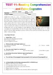 TEST 11: READING COMPHRENSION AND COGNATES