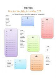 English Worksheet: Prefixes (Opposites)