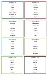 English Worksheet: game about food - shopping list part 1