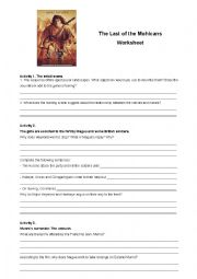 english worksheets thhe last of the mohicans worksheet. Black Bedroom Furniture Sets. Home Design Ideas