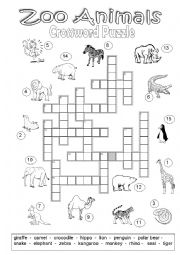English Worksheet: Crossword Puzzle Zoo Animals