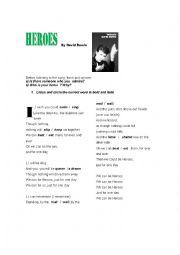 English Worksheet: HEROES By David Bowie