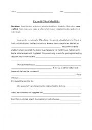 English Worksheet: Cause & Effect Mad Libs