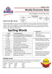 English Worksheet: Weekly Newsletter and Homework - Grade 4