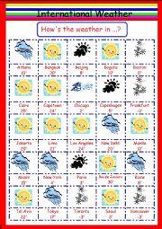 English worksheet: International Weather Game